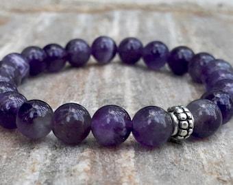 Amethyst Bracelet, Stress Relief,  Third Eye Chakra, Healing Crystals, Calming Bracelet, Protection Stones, Reiki Energy, Purple Bracelet