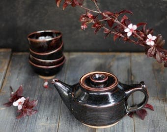 ceramic tea set, black teapot set, teapot with cups, ceramic teapot, small teapot, tea set, stoneware teapot, tea pot, one of a kind teaset