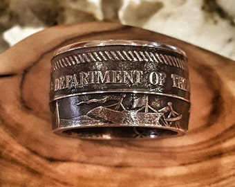 US Navy Ring - Hand Forged .999 Pure Copper Coin Ring