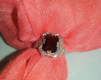 Vintage 2ct Fire Garner sterling silver art nouveau ring size 7
