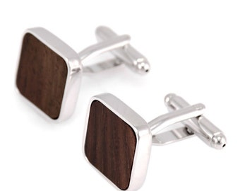 Square Wooden Cufflinks - Ideal gift or Wedding Best Man Present