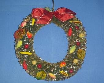 Vintage Christmas Bottle Brush Wreath with Fruit, Pinecones, Glitter, 1950's