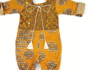 3-12 months Heirloom kantha roll up rompers, Vintage Style Baby clothing, Boho romper, Hippie baby, Shower gift, Bohemian Baby clothing