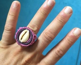 Macrame cowrie ring