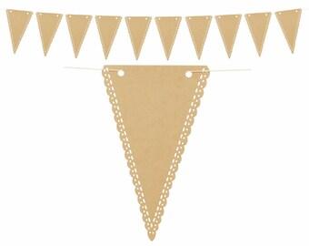 Kraft Paper Triangle Pennant Banner, Kraft Paper Lace Trim Banner, Reusable Customizable Banner, Wedding Photo Prop, Bridal Shower Brunch