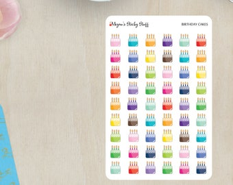 Birthday Cakes Functional Planner Stickers