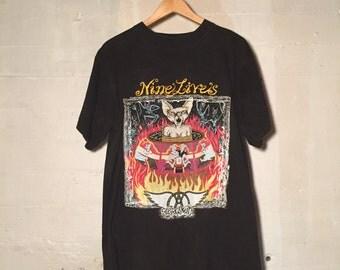 Vintage 1990s Black Aerosmith Nine Lives Tour T-Shirt