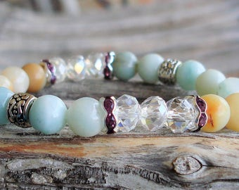 Amazoniate & Mookaite Bracelet - Stretch and Stack Bracelet, Clear Crystals, Rhinestones, Silver Accent Beads C 748 D78