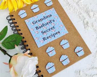A5 Recipe Book, Personalised Recipe Book, Secret Recipes, Family Recipes, Secret Recipe Book, 6'x8' Recipe Book, Mum, Grandma B