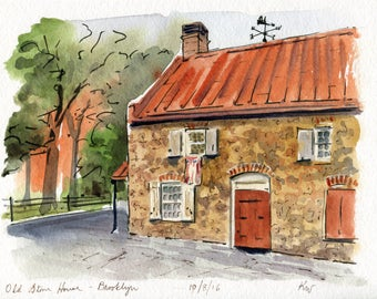 6x8 Original Watercolor Painting - Old Stone House