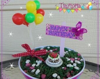 Miniature Happy Birthday Set Fairy Garden Accessory