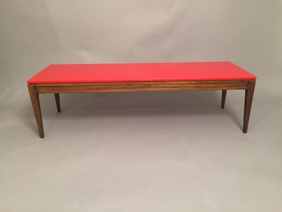 Coffee table restored with red top matt finish.