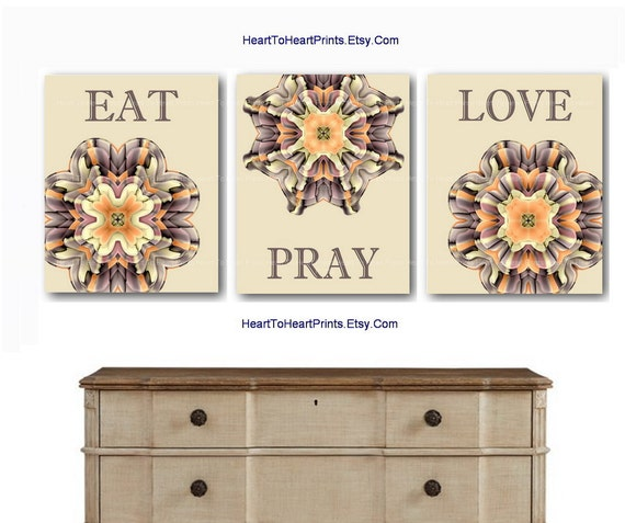 Items similar to brown cream kitchen wall art eat pray love dining room wall decor tan beige - Orange and brown kitchen decor ...