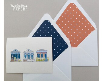 Louisiana Note Card Set - Shotgun Houses - Local Artist Watercolor - Foldover Cards