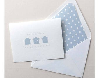 Real Estate Agent Thank You for Referral Card- Realtor Thank You Card - Light Blue Geo