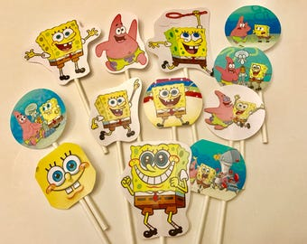 Sponge Bob Square Pants cupcake toppers. (12) Sponge Bob cake toppers. Birthday party supplies.