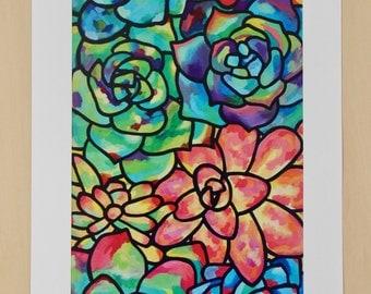 Succulent Art, Succulent Print, Abstract Colorful Painting, Colorful Succulents, Acrylic Painting Print, Plant Painting Print, Colorful Art
