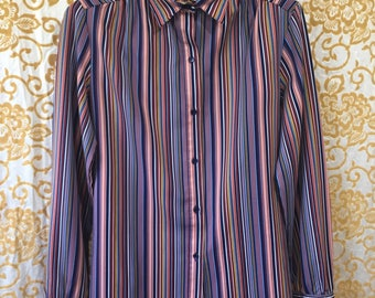 70s Levi Strauss & Co. Minimal Pastel Stripe Button Down Blouse Size 12 Medium Top