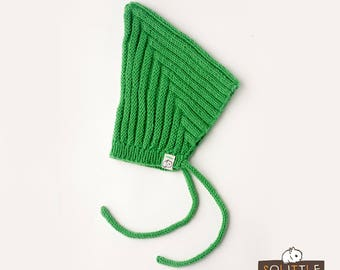 Baby green or yellow short elf hat with strings, knit newborn hat, newborn photo prop, knit elf hat. FREE SHIPPING