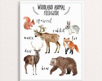 Woodland Animal Print, Field Guide, Nursery Decor, Baby Boy Nursery, Bear Wall Art, Forest Animal Print, Moose Art, Woodland Nursery Print