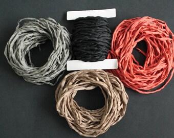 Habotai Silk Foulard Cord 3 mm Black Naturally Soft, 'Second Skin' For Jewelry/Jewellery 3 metres