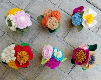 Clay Pots with Colorful Felt Flowers