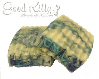 VEGAN Patchouli Soap with Swirls of Calming Blue & Turquoise - 2.8 - 3.2 ounces per bar