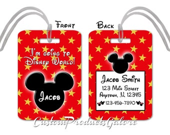 Mickey Mouse Luggage Tag, Bag Tag, Disney Luggage Tag, I'm Going to Disney World