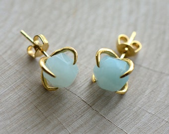 Real Amazonite Chunk Earrings in 24K Gold Plated Claw Setting - Earring Studs Gem Gemstone Jewelry