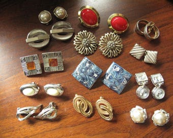 13 Pair Clip-On Earrings Lot