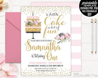 Printable Girl First Birthday Party Invitation. Birthday Cake Party Invitation Template. Gold and Pink Floral Flower Watercolor PDF Digital