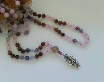 Fertility Mala, Venus of Willendorf, Rose Quartz, Fluorite, Rosewood, Prayer Beads, Buddhist, Buddhism, Goddess, Pregnancy, Libido, Feminine