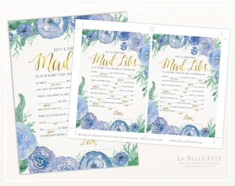 SIXTY & SENSATIONAL PARTY Mad Libs Game / Watercolor Floral design in blue and gold