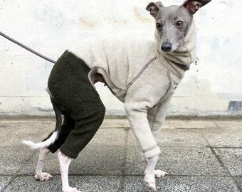 Italian Greyhound Clothing, Fleece Jammie, Jumpsuit, Romper, Onesie, BII-color [Heather Bieige/Dark Green]