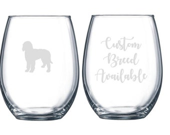 Dog Breed Silhouette Etched 15 ounce Stemless Wine Glass