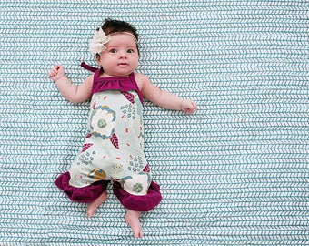 Baby Girl Romper / Summer Romper / Baby Shower Gift / Coming Home Outfit / Baby Girl Outfit / Modern Baby Girl Clothes