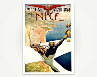 Nice Travel Poster Print - Meeting d'Aviation, Nice France - Vintage French Art Nouveau Travel Poster Art