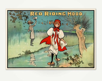 Red Riding Hood Vintage Victorian Pantomime Poster Print - Children's Wall Art - Vintage British Theater Poster