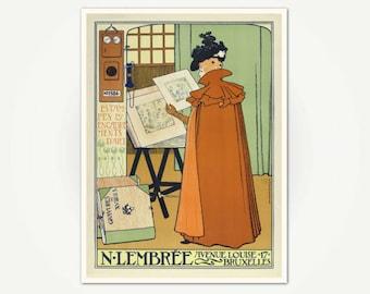 Lembrée Estampes et Encadrements d'art Poster Print - Vintage Belgian Poster Art by Theo Van Rysselberghe