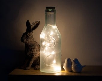 Glass bottle LED fairy lights lamp from 100% recycled glass