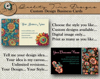 Paisley Collection Designs | Standard Business Card | 3.5 x 2 in | Double Side Available | Business Card Design | Custom or Premade Design |