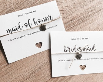 """Wedding Bridal Party cards with heart pendant. """"will you be my"""" plus Card to put them in."""