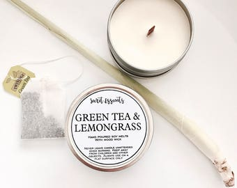 Green Tea & Lemongrass Natural Soy Wax Tin Candle with Wooden Wick