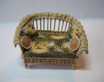 Quarter scale miniature wicker loveseat