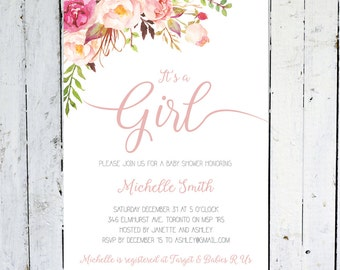 Baby Shower Invitation Girl, It's A Girl, Floral Baby Shower Invitation, Boho Baby Shower Invitation, Pink, Watercolor