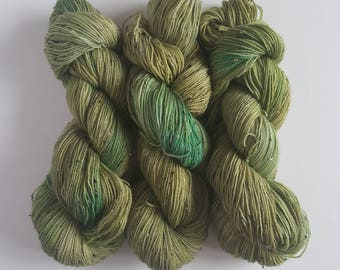 SEAWEED-Hand Painted Tweed Sock Yarn- Hand Dyed Superwash Merino NEP- 438 yards