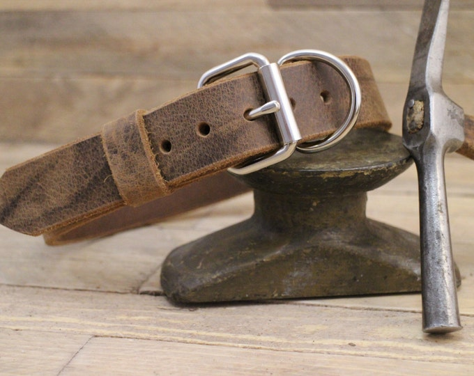 Collar, Classic collar,Leather collar, ''Crazy horse'' dog collar, Handmade collar, Dog collar, Minimal collar.