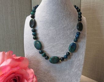 SALE !!! Azurite and Gold Beaded Necklace