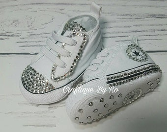 Baby Bling Sneakers - Customized Bling Soft Bottom Converse -  White Baby Shoes