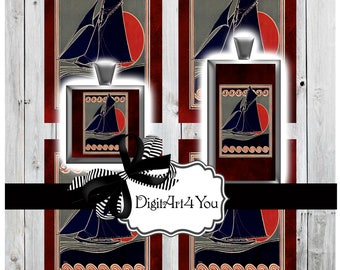 High Resolution Digital Download Collage of Sailboat in Red and Blue. Vintage Sail Boat Clip Art for Sailor. Inchies and Dominoes Pendants.